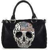 styleBREAKER Bolso de Mano Estilo Bolera con diseño de EE.UU, Calavera y estrás Negro, Bolso de Mano, señora 02012051, Color:Negro