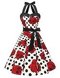 Dressystar Vestidos Corto Cuello Halter Estampado Flores y Lunares Vintage Retro Fiesta 50s 60s Rockabilly Mujer Blanco Negro Rosa XS