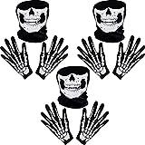 Guantes de Esqueletos Blancos y Máscara de Cara de Calavera Huesos de Fantasmas para Adultos Halloween Fiesta de Disfraz de Danza (3)