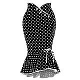 Falda para Mujer,Lenfesh Falda Retro Ruffles de Mujer con Volante Falda de Bodycon Largo Vintage Falda de Cola de Pescado Estampado de Lunares Elegantes de Cóctel Fiesta Noche (Negro, M)