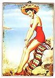KUSTOM ART Cuadro de estilo vintage Pin Up disfraz sombrero impresión sobre madera moldeada con láser Made in Italy