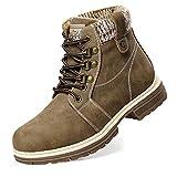 Botas para caminar de invierno para mujer - Botas con cordones impermeables a media pantorrilla Botas de senderismo con punta redonda Cómodas y cálidas EUFNW18-KHAKI-36