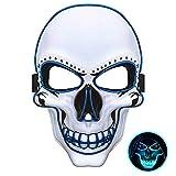 JuguHoovi Máscara LED de Halloween, Máscara de Miedo Brillante Máscara de Calavera de Muerte con 3 Modos de Flash para Halloween Carnaval Carnaval Fiesta de Disfraces Cosplay Decoración