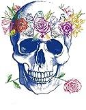 ANNIUP Parches Garland Calavera Flor Elegante Lentejuelas Parches para Ropa Chaqueta Camiseta Transferencia Térmica Puede Lavado 26X24cm