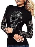 Camiseta con Lentejuelas De Calavera para Mujer, Camisetas Punk, Camisetas Delgadas De Manga Larga Negro L Shirt