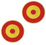 Banderas de ESPAÑA PARCHE BORDADO AUTOADHESIVO, parches termoadhesivos para todo tipo de prendas y artículos textiles, fácil de planchar y colocar, fabricado en España , modelo circular (Pack 2 ud)