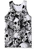 Chalecos para Hombre Camisetas sin Mangas con Calavera en 3D para Mujer Camisetas sin Mangas con Cuello Redondo de Verano Negro Blanco XL