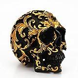 VORCOOL 1 calavera decorativa dorada tallada con calavera para Halloween y decoración para fiestas en el hogar.