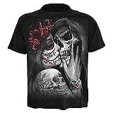 Camiseta de Hombre Calavera - gótica - Rock - Punk - Oscura - Divertida - Metal - Biker - Manga Corta - niño - Beso - Muerte - Halloween - Color Negro - Talla l