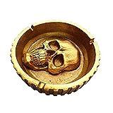 Molinter Cenicero de calavera de Halloween, resina, artesanía, para casa, Halloween, decoración, regalo (dorado)