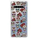 dakanna Funda para [Samsung Galaxy S10 Plus (S10+)] de Silicona Flexible, Dibujo Diseño [Pattern Calaveras de azucar Estilo Mexicano con Flores], Color [Fondo Transparente] Carcasa Gel TPU