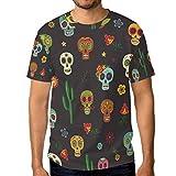 Ahomy Camiseta de manga corta para hombre, diseño de calavera mexicana de azúcar, cactus y flores, cuello redondo
