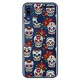 dakanna Funda para [Samsung Galaxy A20e] de Silicona Flexible, Dibujo Diseño [Pattern Calaveras de azucar Estilo Mexicano con Flores], Color [Fondo Transparente] Carcasa Case Cover de Gel TPU