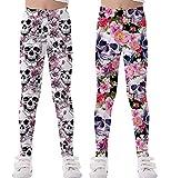 Coralup Leggings elásticos para niñas para niños, pantalones casuales con estampado floral de longitud completa de 2 a 13 años