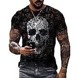 Camisetas con Estampado gráfico de Calavera para Hombre Camisetas de Manga Corta Camisetas de Verano con Estampado Divertido