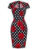 Vestido de Cóctel para Las Mujeres Vestido de los Años 40 Vintage Manga Casquillo Floral Tamaño L CL7597-11 …