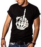 MAKAYA Ropa Gotica Hombre - Camiseta Negra Dedo Joder M