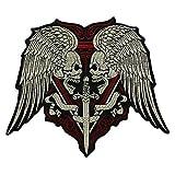 EMDOMO Parches de espada para bordado grande, diseño de calavera con alas de espada para planchar en la motocicleta o motociclista. Chaleco con apliques de