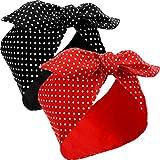 2 Piezas Diademas de Disfraces de Rosie Remachadora para Mujer, Diadema de Negro y Rojo, Diadema de Lazo Boho Diadema de Orejas de Conejo Vintage