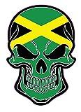 WickedGoodz Pegatina de vinilo con diseño de calavera de Jamaica, con bandera de Jamaica