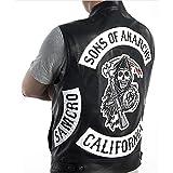 Sons Of Anarchy/Chaleco Punk Rock de cuero bordado disfraz de Cosplay Color negro chaleco sin mangas de motocicleta chaqueta para hombre