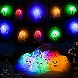 Colmanda Luces de Cuerda de Calavera de Halloween, 2.5m LED de Calavera, Cadena de Luces de Gasa Blanca, Halloween Decoraciones al Aire Libre para Exteriores Suministros de Fiesta (blanco)
