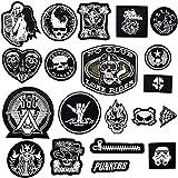 20 parches para ropa, (Skull/Punk) parches de costura, parches termoadhesivos, parches de bordado, parches de hierro para ropa, vaqueros, chaquetas, mochilas, sombreros