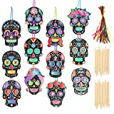 HOWAF 36pcs Mexicana Calavera Scratch Art para Niños Halloween Manualidades, Halloween Magic Scratch para Niños Colorear Pintar, para Niño Bricolaje Artesanía Halloween Ornamento Etiquetas de Regalo