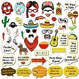 HOWAF Fiesta Mexicana Photo Booth Props Cabina de Fotos Accesorios Photocall Gafas m¨¢scara Sombreros para Cinco de Mayo Mejicano Fiesta de Cumplea?os Boda Carnaval decoraci¨®n Suministros (56pcs)
