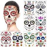 halloween tatuajes temporales de cara (8 hojas), halloween mascarada Día de los Muertos esqueleto cráneo cara completa tatuajes de maquillaje para mujeres Hombres adultos Niños Halloween Prop cosplay