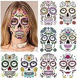 halloween tatuajes temporales de cara (9 hojas), halloween mascarada Día de los Muertos esqueleto cráneo cara completa tatuajes de maquillaje para mujeres Hombres adultos Niños Halloween Mascarada