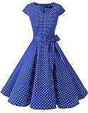 DRESSTELLS Mujer Vestido Corto Mujer Retro Años 50 Vintage Vestido de Cóctel Royal Blue Small White Dot S