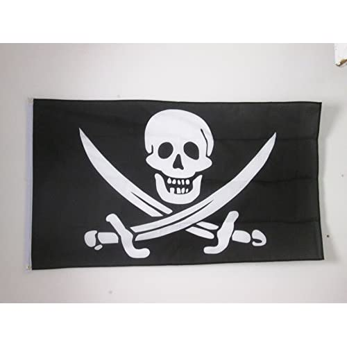 AZ FLAG Bandera Pirata Jack Rackham 150x90cm - Bandera con Calavera - Piratas 90 x 150 cm
