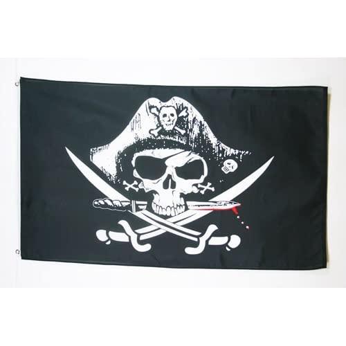 AZ FLAG Bandera Pirata SABLES 150x90cm - Bandera con Calavera 90 x 150 cm