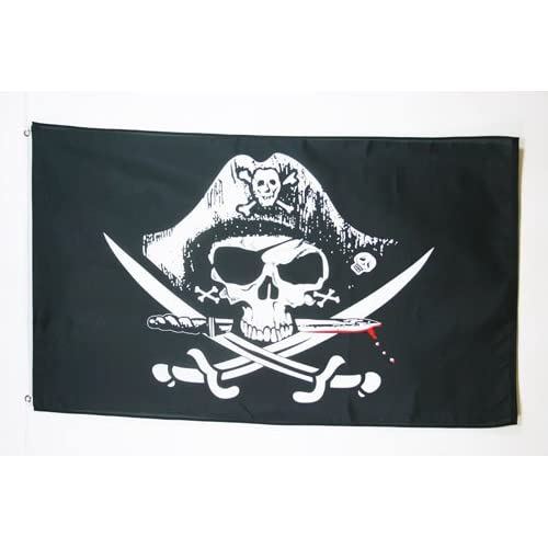 AZ FLAG Bandera Pirata SABLES 90x60cm - Bandera con Calavera 60 x 90 cm