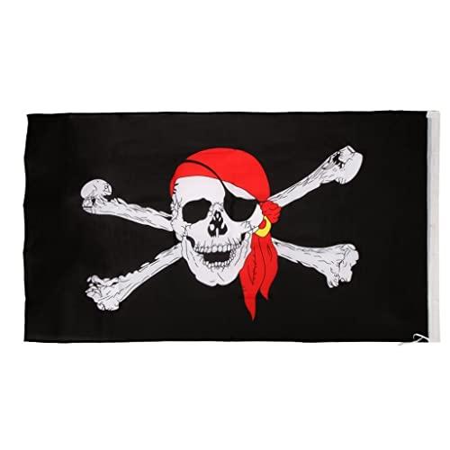Bandera Dibujo Cráneo con Corro Rojo Y Pirata 90*150cm