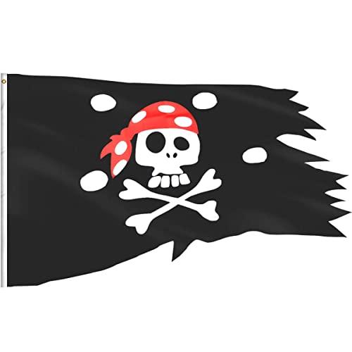 Bandera Pirata de eZAKKA Bandera de Clavera Del Cráneo Para Decoración de Fiestas de Niños, Halloween, Restaurantes Etc, 2,54 x 4 ft